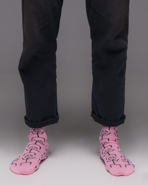 Hustler Sock Angry Face Pink